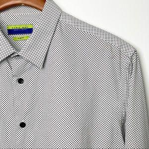 ZARA MAN White & Black Dot Button Down Shirt Slim